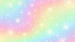 Vector illustration of galaxy fantasy background and pastel color.The unicorn in pastel sky with rainbow. Pastel clouds and sky with bokeh background