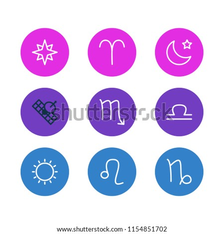 Vector illustration of 9 galaxy icons line style. Editable set of scorpion, sputnik, aries and other icon elements.