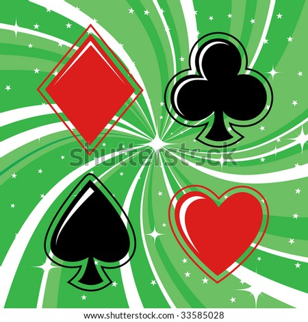 Vector illustration of gambling cards signs set on the beautiful background, decorated with stars and waves.