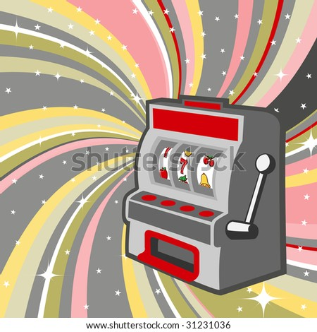 Vector illustration of gambling machine on the beautiful shiny background