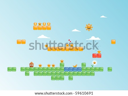 Vector illustration of game world
