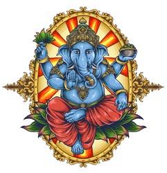vector illustration of ganesha elephant symbol of gods religion hinduism