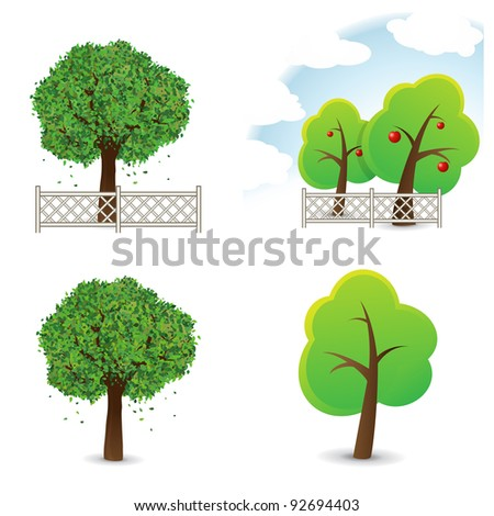 Vector illustration of garden and trees. - stock vector