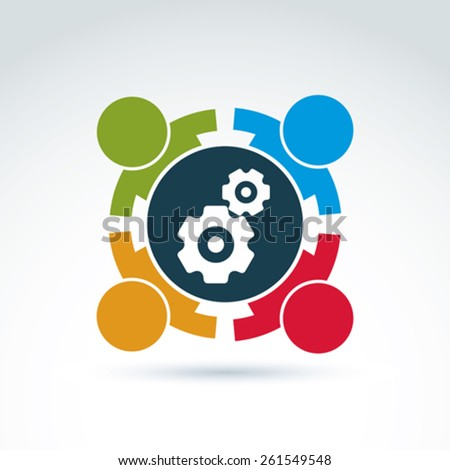 Vector illustration of gears - enterprise system theme, international business strategy concept. Cog-wheels, moving parts and people �¢?? components of manufacturing process.