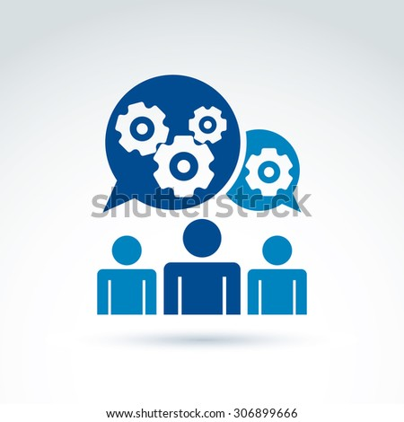 Vector illustration of gears, enterprise system theme, organization strategy concept. Cog-wheels and moving parts placed in dialogue bubble,chat on business and management.