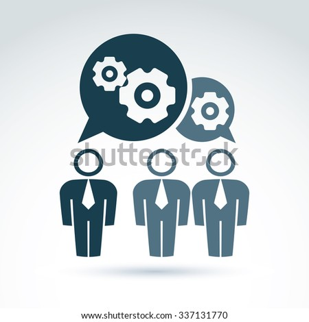 Vector illustration of gears, enterprise system theme, organization strategy concept. Cog-wheels and moving parts placed in speech bubble, chat on business and management.
