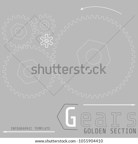 Vector illustration of gears with on the grey background. Business and industry concept with options, parts, steps, processes. Infographic template. Golden section. #1055904410