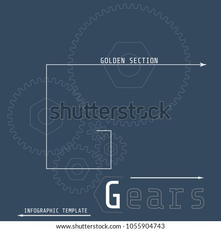Vector illustration of gears with on the grey background. Business and industry concept with options, parts, steps, processes. Infographic template. Golden section. #1055904743