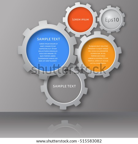 Vector illustration of gears with on the grey background. Infographic vector templat