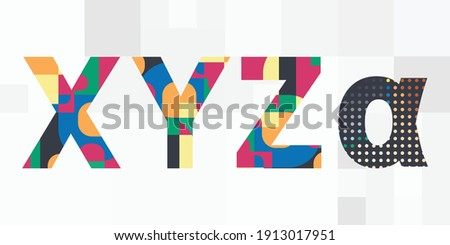 vector illustration of generations main letters including X Y Z and Alpha symbols Foto stock ©