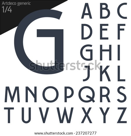 Vector illustration of generic font. Art deco Normal style #237207277