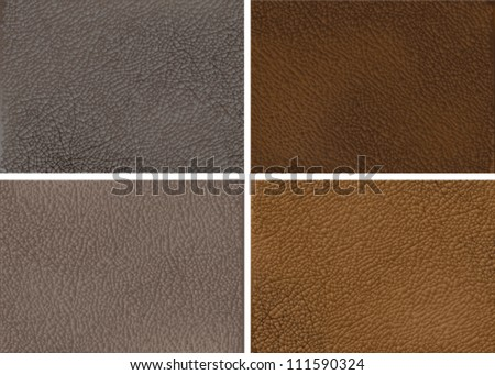 Vector illustration of genuine leather in four natural colors. EPS 10.