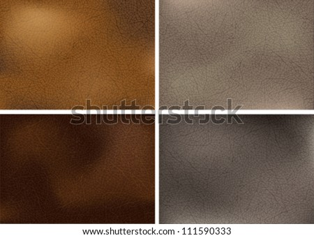Vector illustration of genuine leather in four natural colors. Transparency effects used (multiply and soft light). EPS 10.