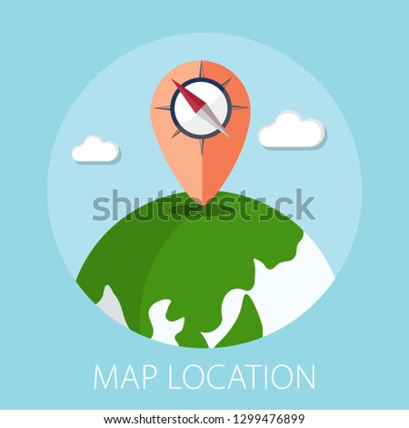 Vector illustration of geo targeting & map location concept with pin