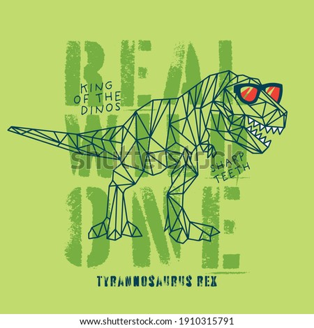 Vector illustration of geometric dinosaur and typography