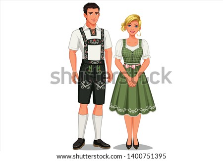 Vector illustration of German couple in their traditional costume ストックフォト ©