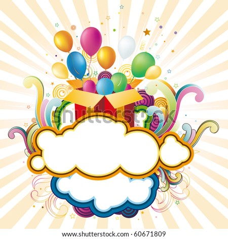 vector illustration of gift box and balloons