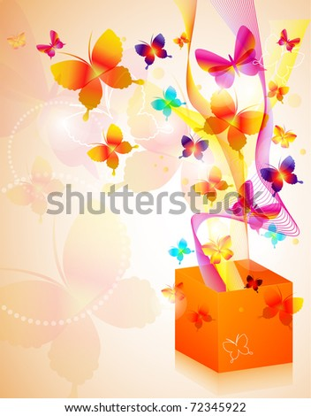 Vector illustration of gift box with butterflies