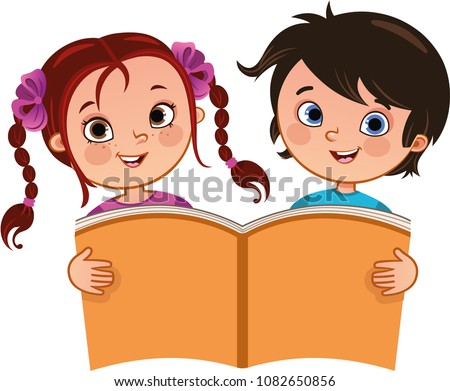 stock-vector-vector-illustration-of-girl-and-a-boy-holding-a-large-book