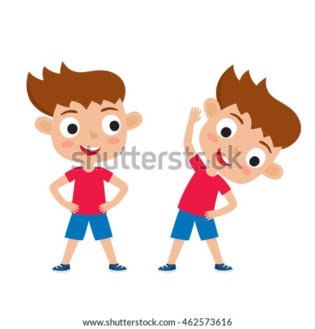 Vector illustration of girl in exercise pose isolated on white background. Cute kid for school books, picture books, magazines, web pages. Waist exercise, feet shoulder width apart, hands on hips.