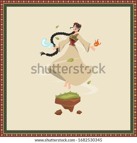 vector illustration of girl in traditional Azerbaijani dress with four nature elements of water, fire, air and earth. Novruz symbol Bahar qiz Stok fotoğraf ©