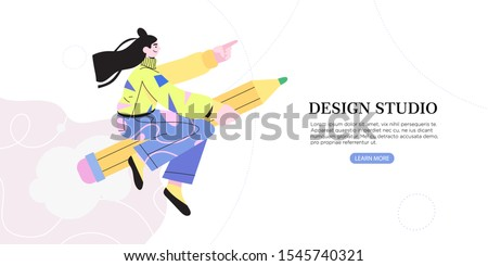 Vector illustration of girl or woman flying on a pencil. Creative process banner, flyer, ad, landing page or poster for web design studio or startup. Generating ideas or leap of imagination concept.