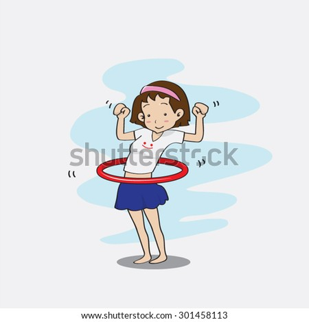vector illustration of girl playing with hula hoop #301458113