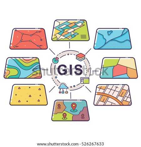Vector Illustration of GIS Spatial Data Layers Concept for Business Analysis, Geographic Information System, Icons Design, Liner Style