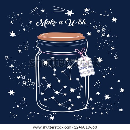 Vector illustration of glass jar with constellations inside it, label with geometric pattern, lettering cosmic jam, shooting stars, make a wish, hand drawn card, can be used as print for t shirt