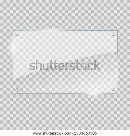 vector illustration of glass or plastic transparent panel on plaid background