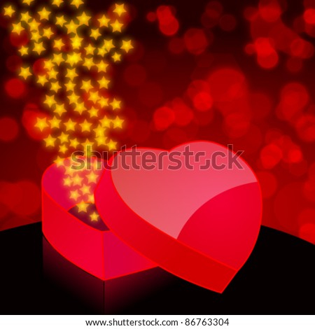 Vector illustration of glittering stars exploding from a heartshaped gift box on blurry background