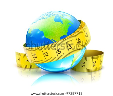 Vector illustration of global diet concept with blue glossy globe and yellow measuring tape
