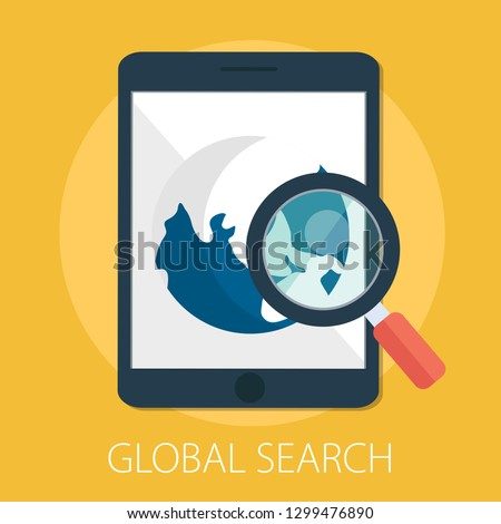 "Vector illustration of global search & world magnifying concept with ""global search"" web symbol. internet search icon."