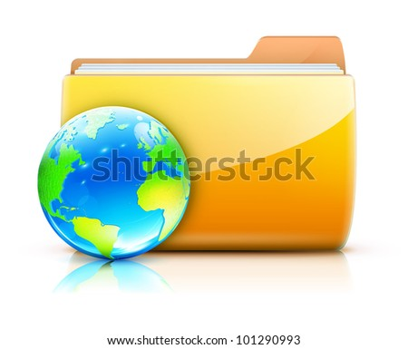Vector illustration of global sharing concept icon yellow folder and glossy globe