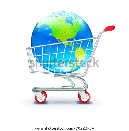 Vector illustration of global shopping concept with shopping cart containing  globe