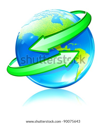 Vector illustration of Glossy Earth Map Globe with green Arrows