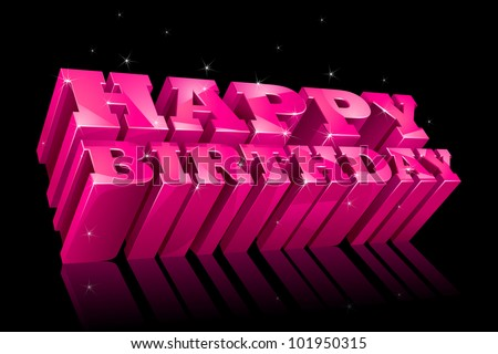 vector illustration of glossy happy birthday text with sparkle