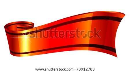 vector illustration of glossy red ribbon isolated on white