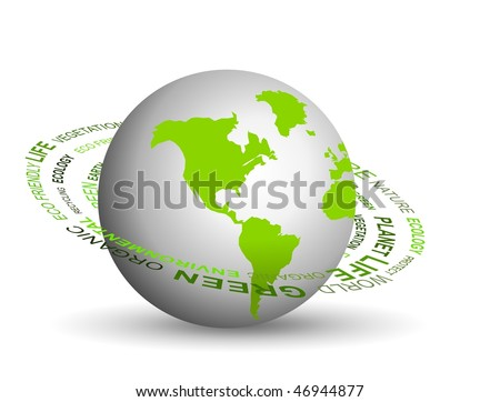 Vector illustration of Go green concept with globe