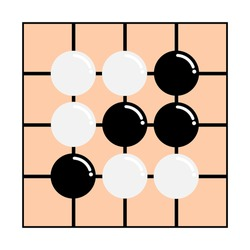Vector illustration of go strategy board game on white background