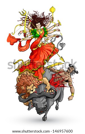 vector illustration of goddess Durga killing Mahishasura