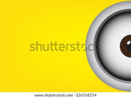 Vector illustration of goggle with two eye on yellow color background.