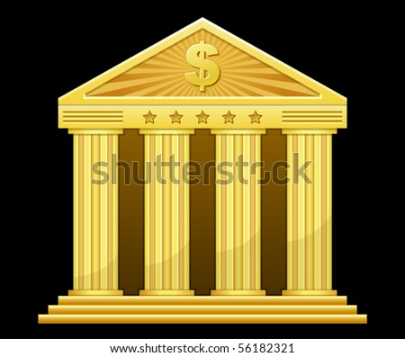 vector illustration of gold bank