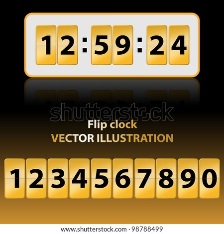 Vector illustration of gold flip clock. Description and background are in separate layers.