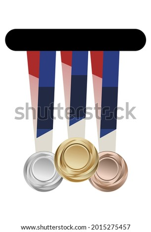 Vector illustration of gold, silver, bronze medals. Isolated on a white background