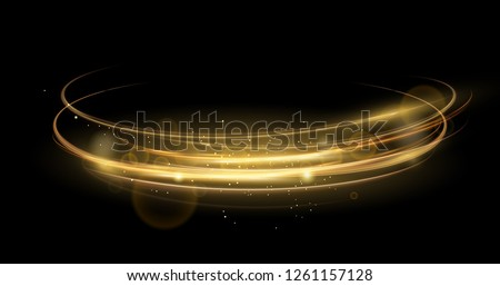 Vector illustration of golden abstract transparent light effect isolated on black background, sparcles and light lines in golden color. Abstract background for science, futuristic, energy technology