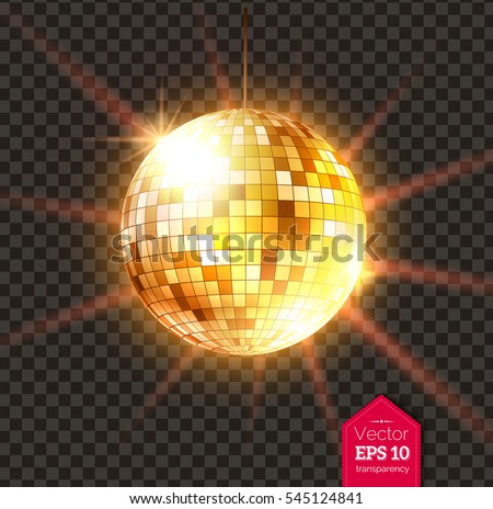 Vector illustration of golden Disco ball with light rays isolated on transparent background.