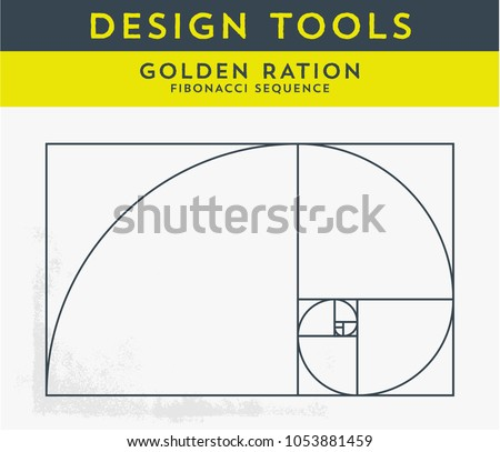 Vector Illustration of Golden Ration and the Fibonacci Spiral. Useful Tool for any Graphic Designer. Graphic Tutorial, which shows the Method of Creating a Gold Spiral Perfect for Logo Design.