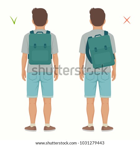 vector illustration of good and wrong spine  posture, correct and incorrect backpack position on child back