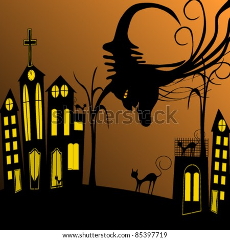 Vector illustration of gothic Halloween city with black cats and witch